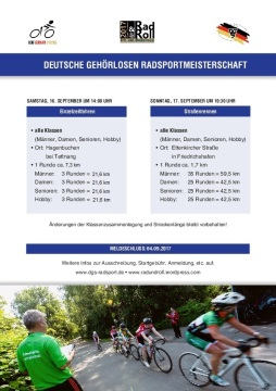 Plakat zur Radsport-DM der Gehörlosen