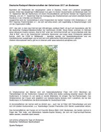 Vorbericht zur Radsport-DM der Gehörlosen, Sparte Radsport DGS